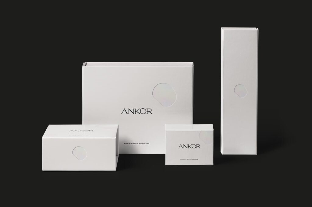 Jewellery brand packaging design for Ankor