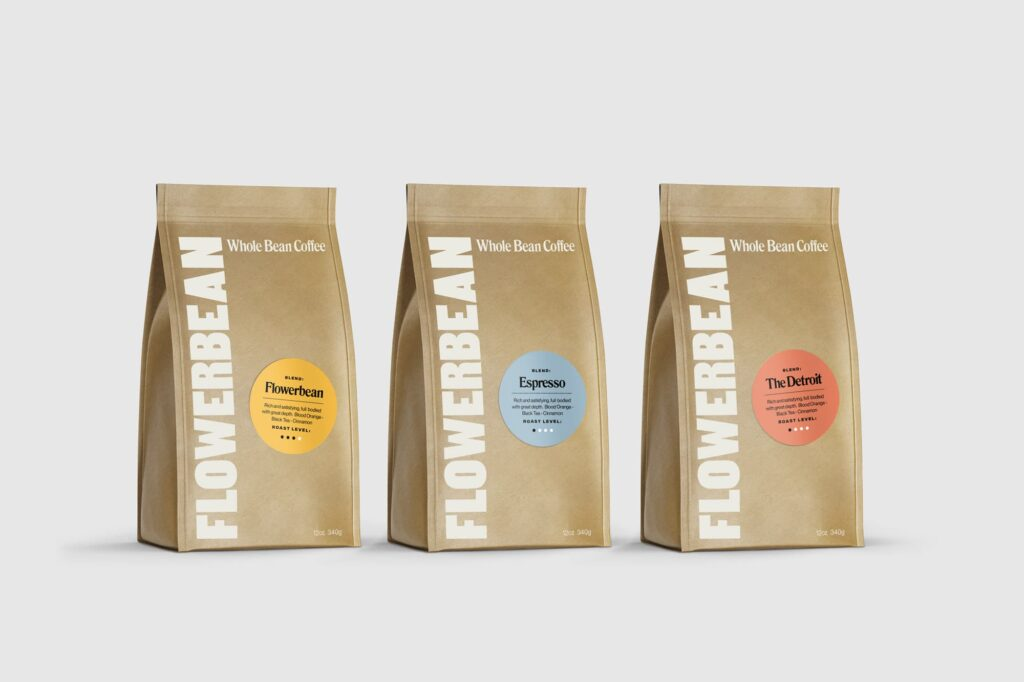Flowerbean Coffee brand Packaging Design